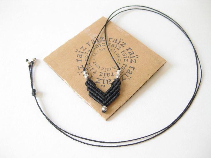 Black Chevron Necklace Macrame Small Pendant . Minimalist Modern . Fiber Jewelry…