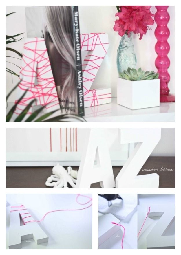 Neon Wrapped Letters   23 Lovely DIY Bookends To Adorn Your Shelves