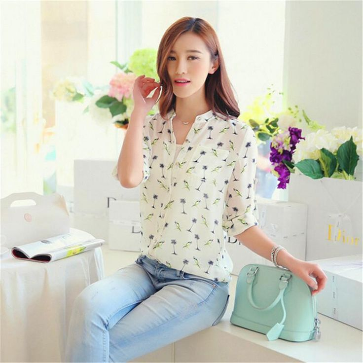 2016 New  Spring Summer Women Long - Sleeve Bird Printed Casual Chiffon Shirt Fashion Slim Blouse Shirts For Women