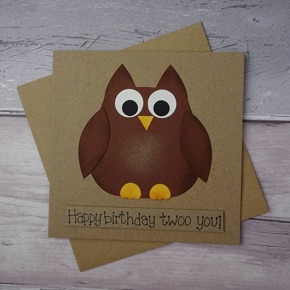 Funny Owl Birthday card Handmade brown owl card Cute barn