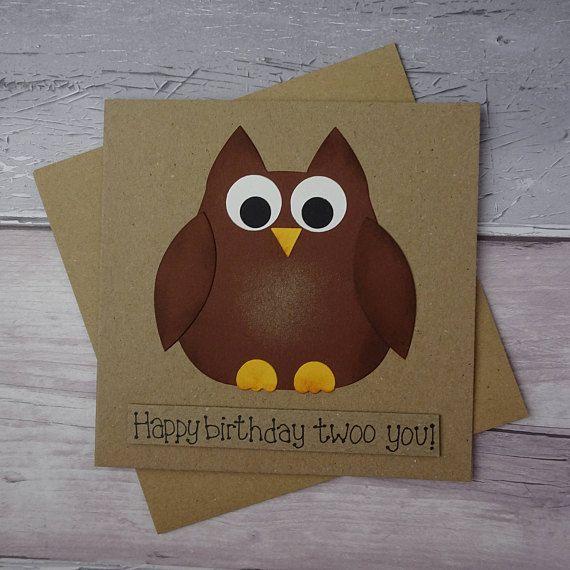 Funny Owl Birthday card Handmade brown owl card Cute barn