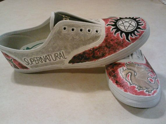 Merlin and Supernatural Shoes on Etsy, $65.00