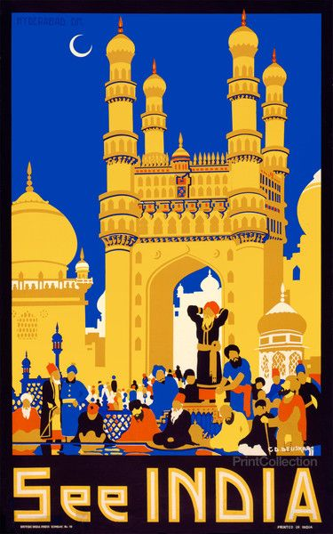 See India poster created by C.D. Deuskar for the British India Press, Bombay India as a color silkscreen at 100.3 x 62.8 cm.åÊTravel poster showing a group of elderly men gathered in front of the Char