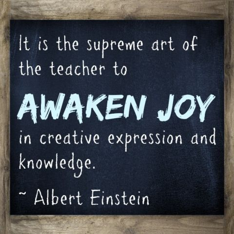 It is the supreme art of the teacher to awaken joy in creative expression and knowledge. ~ Albert Einstein