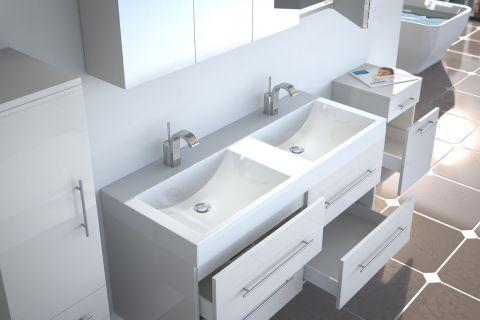 Badmöbel Set 5tlg DUBAI - Hochglanz weiß - 120 cm - Doppelwaschbecken