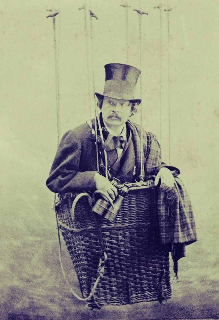 Félix Tournachon 'Nadar' in a gondola of a balloon. By Nadar Studio, c. 1863