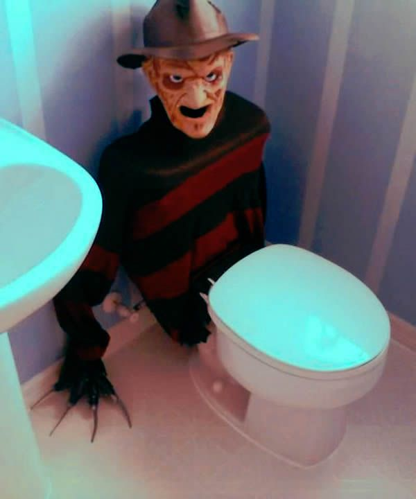 Freddy Krueger Toilet Tank Cover~  that would really help with getting my kids out of the bathroom in the mornings.