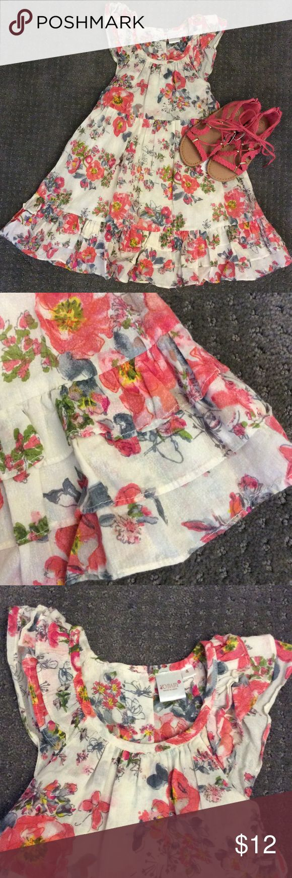 Floral Sundress Sz 4 floral sundress, size 4, gathered with ties in the back, ruffled three tier hem, ruffled sleeves, adorable boho girliness! worn two times! yo baby Dresses Casual