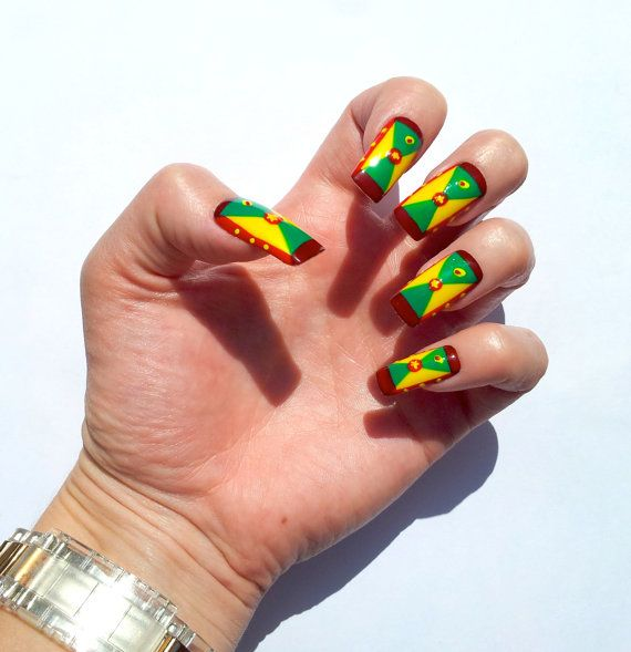 Carnival 'Grenada Flag' Ready To Wear Set of 10 by BangBangNails, £11.99