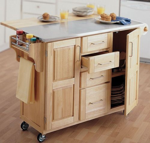 Fascinating Wooden Kitchen Island Utility Cart With Tiny Wheel Stainless  Steel Combined Wood Countertop Plywood Cutlery Drawer Glass Plates Storage