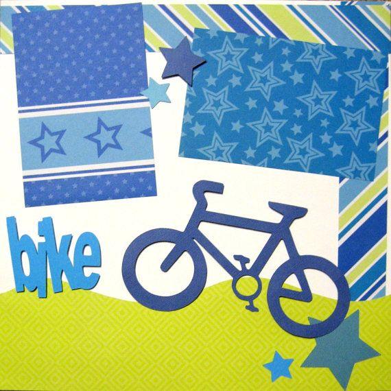 2 Page Scrapbooking Kit Boy Bike Bicycle by upinthenight on Etsy