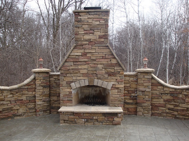 Outdoor Dry Stack Cultered Stone Fireplace Front View