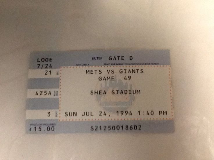 1994 New York Mets SF Giants Ticket Stub Game 49 July 24 Baseball Original