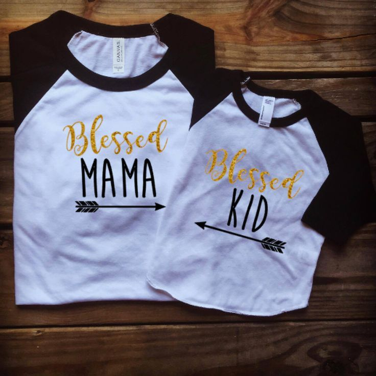 Blessed Mama, Blessed Kid, Mother Daughter Matching Shirts