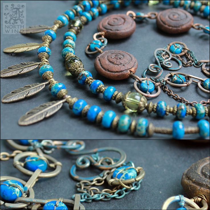 Blue Tales. Kit of several tribal-style necklaces. Inspired by the tales of Red Indiand, made of hand-crafted ceramic beads, copper, brass & amatrice.