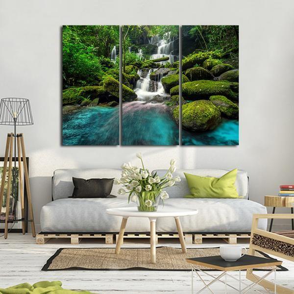 Tropical Waterfall Multi Panel Canvas Wall Art Canvas Wall Art