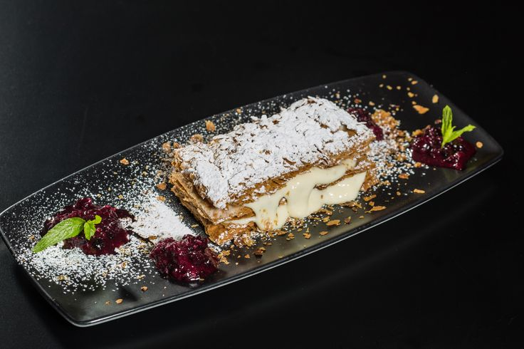 Mille-feuille freshly baked with lovely cream & red berries sauce. #anatoliagastronomy