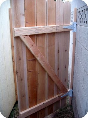 DIY Gate Tutorial-Next cut a diagonal brace for the back of the gate and attach each gate slat to the brace. This will add strength to the gate.