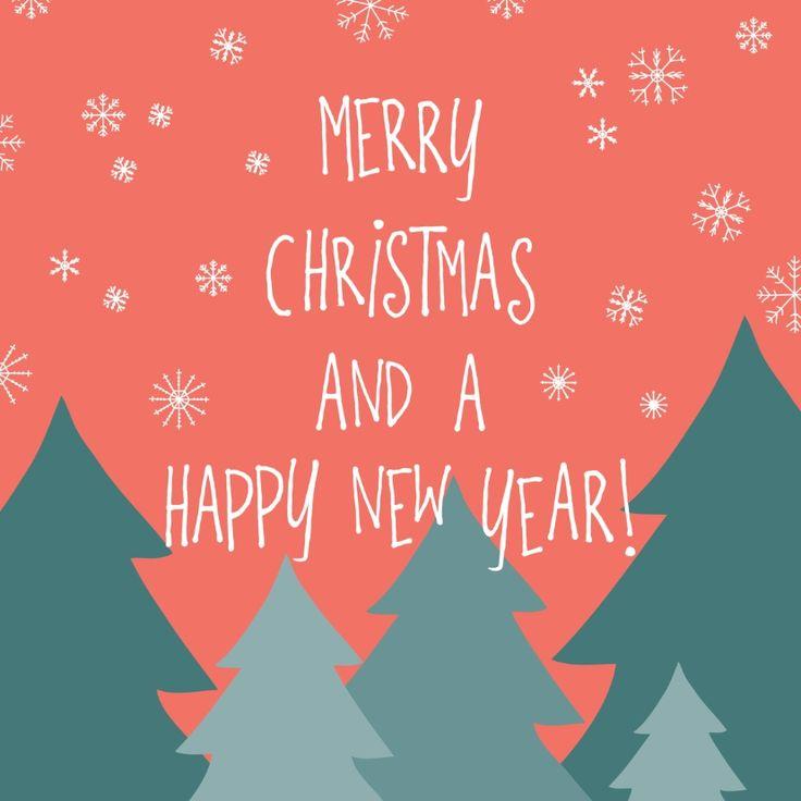 Hippe kerstkaart met een illustratie van kerstbomen in de sneeuw, verkrijgbaar bij #kaartje2go voor € 1,89
