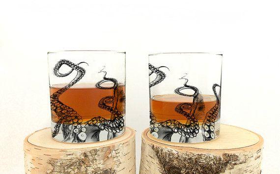 Octopus Tentacles  Screen Printed Whiskey by CrawlspaceStudios