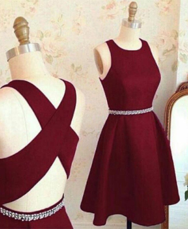 Fashion Jewel Criss-Cross Straps Burgundy Short Prom Dress with Beading prom,prom dresses,prom dress,dress