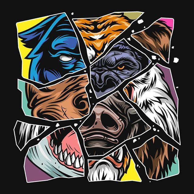 Vintage Cruel Animals Set In 2020 Graphic Tshirt Design Animal Heads Mascot Design