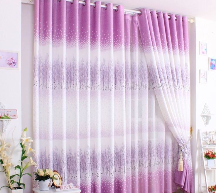 Purple Curtains For Living Room | Elegant Purple Gradient With Many Trees  Living Room Curtains