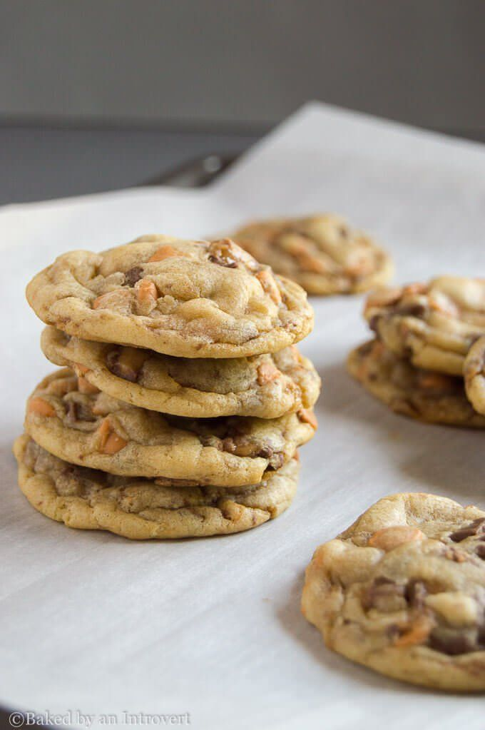 Butterscotch Toffee Cookies - Ultra chewy cookies with delicious butterscotch chips and chocolate toffee bits.