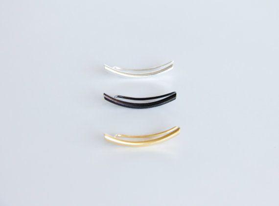 Black Platinum Plated Curved Bar Ear Climber  Ear by tothemetal