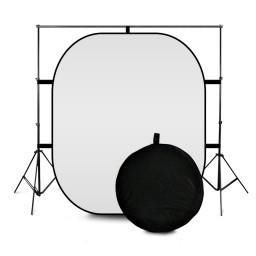 #photography lighting stand with black and white folding