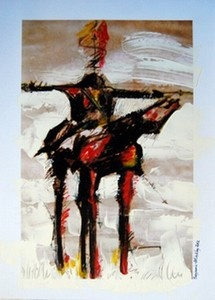 """Cross"", Mixed medium on 300g Photographic paper   W: 295mm x H: 420mm,   W: 12"" x H: 17"" SOLD"