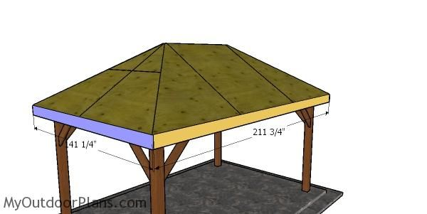 10x16 Gazebo Hip Roof Plans Myoutdoorplans Free Woodworking Plans And Projects Diy Shed Wooden Playhouse Pergola Bb In 2020 Gazebo Gazebo Roof Wooden Playhouse