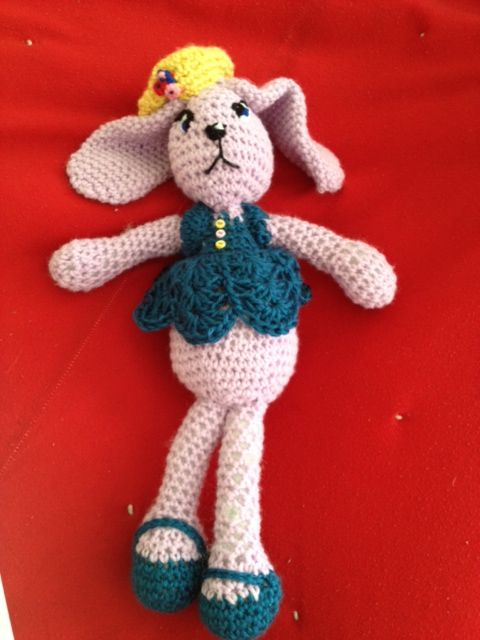 hand made Easter bunny. filled with polyester fiberfill. $15 contact gloriaolave@gmail.com