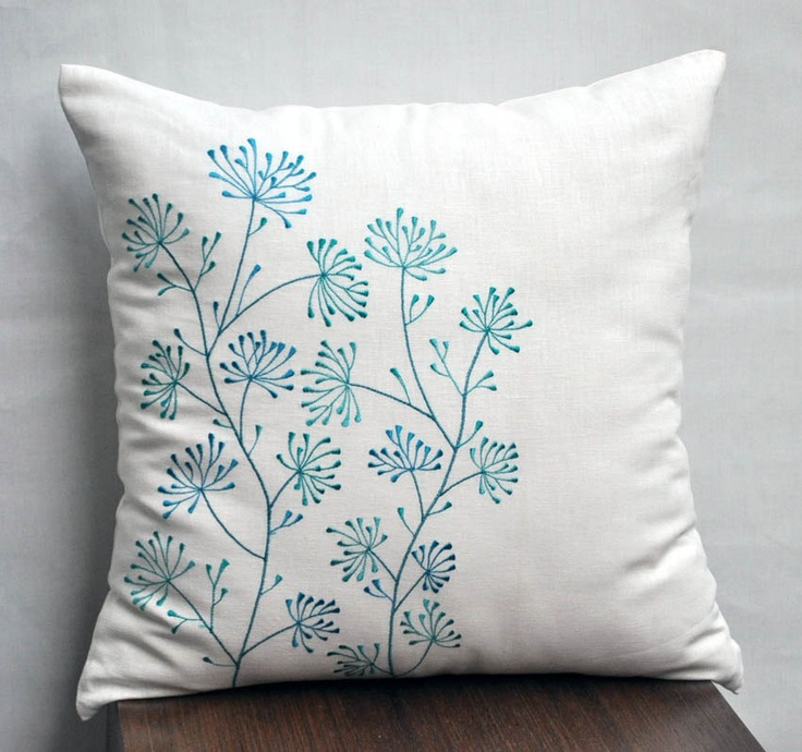 Teal Flower Pillow Cover, Decorative Pillow Cover, Teal Ixora Embroidery on Cream Linen, Pilow ...