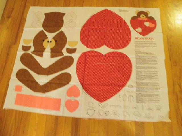 "Bear Hugs Panel Makes 18"" Teddy Wall/Door Hanging Cut Sew Cranston Fabric M4j"