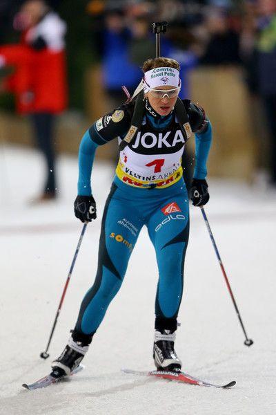 Anais Bescond of France skates during the JOKA Biathlon World Team Challenge 2016 at Veltins-Arena on December 28, 2016 in Gelsenkirchen, Germany.