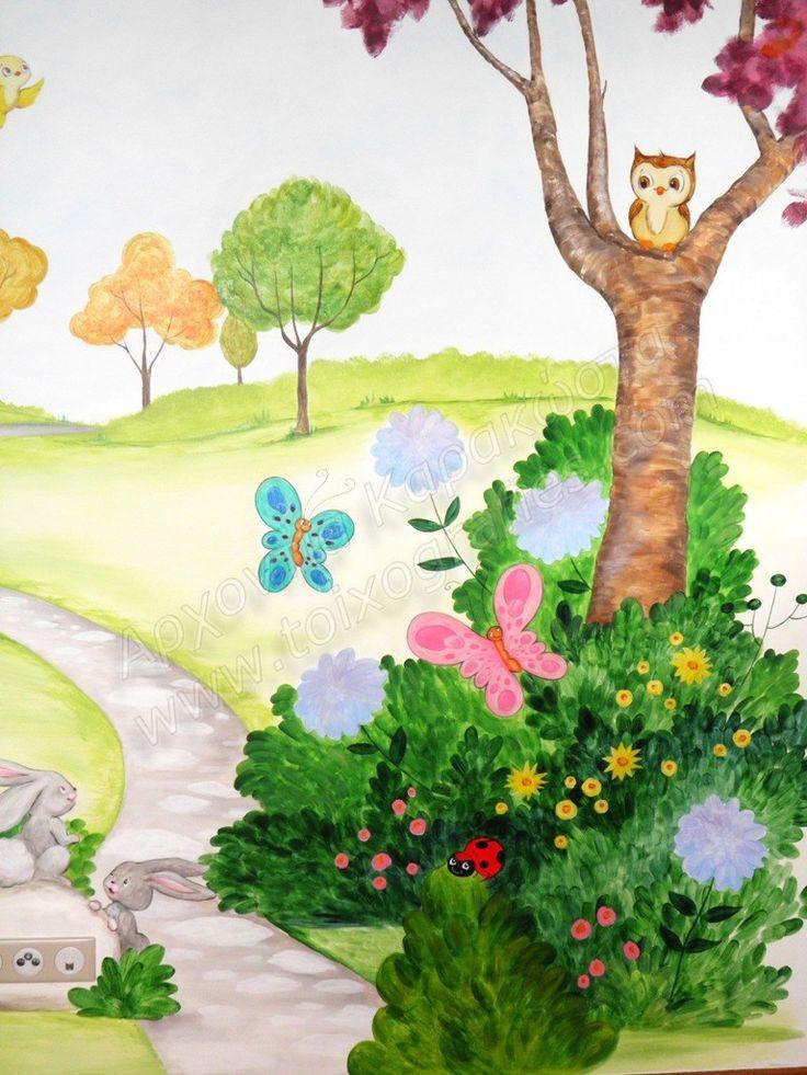 ζωγραφική σε τοίχο παιδικού δωματίου με χαρούμενα χρώματα, παιδική τοιχογραφία