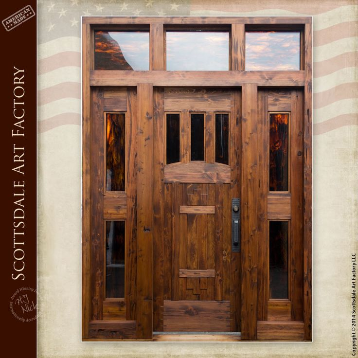 Custom built solid wood door - Craftsman style wood custom entrance doors - handcrafted in any size