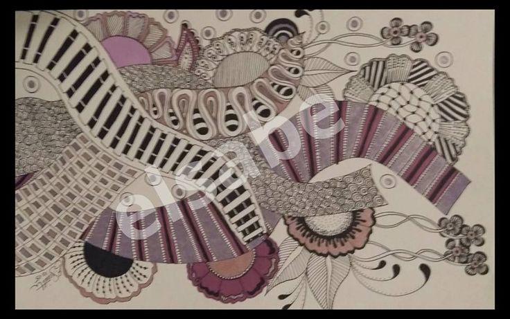 purple pink & black zentangle patterns
