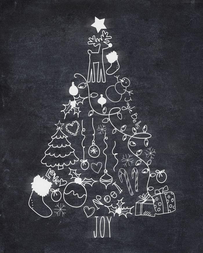 Kostenlose Weihnachtsbaum Kreide druckbare & Amazon Geschenkkarte Werbegeschenk
