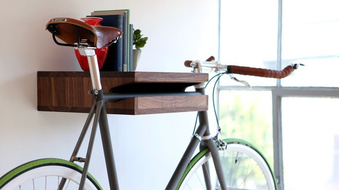 contemporary storage and organization by Knife & Saw  The Bike Shelf - $299  For those without a garage, this shelf is a perfect way to store wheels in style.