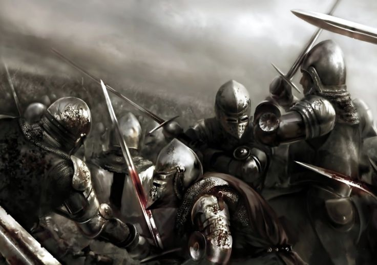 Melee combat between French and English knights, Battle of Agincourt, Hundred Years War