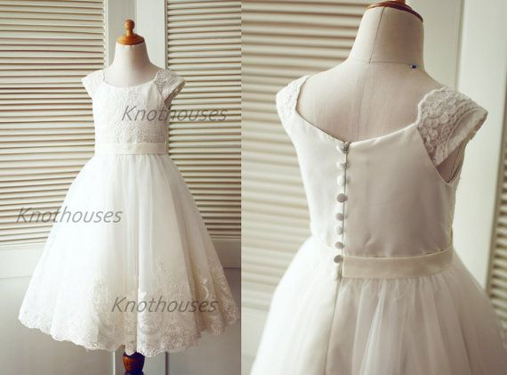 Cap Sleeves Ivory Champagne Lace Tulle Flower girl by knothouses