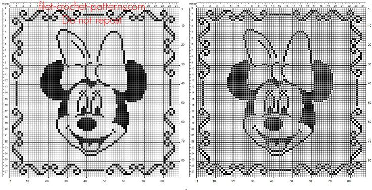 Children pillow crochet filet with Disney Minnie face free pattern download