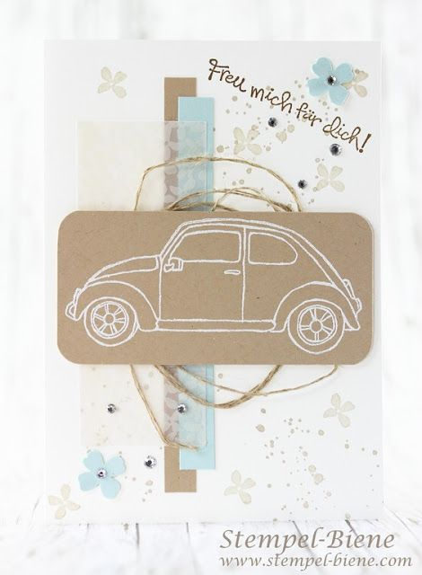 Glückwunschkarte new car;  Card sheet round;  Map passing license;  StampinUp;  Stampin 'Up, StampinUp Beautiful Ride;  Matchthesketch;  Stamp Bee