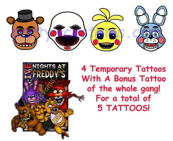 Five Nights At Freddy S Temporary Tattoos Fnaf Five