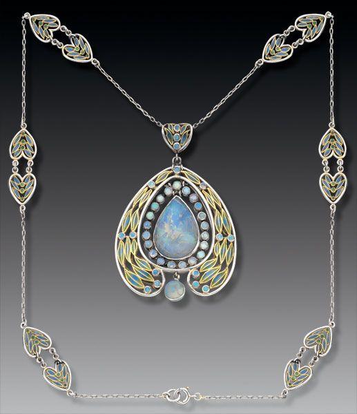 Gold, plique-à-jour enamel, and opal necklace from Tiffany Studios, ca. 1902