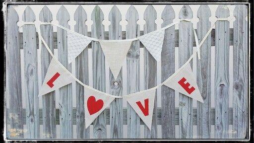 Handmade hessian burlap bunting love inspired for wedding decoration