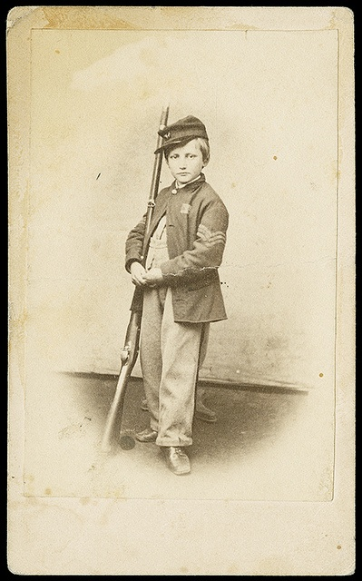 Carte-de-visite photograph of John Lincoln Clem (1851-1937), also called Johnny Clem or Johnny Shiloh. Clem served as a drummer boy for the Union Army during the Civil War and went on to achieve the rank of brigadier general in the Quartermaster Corps. American Civil War (V)