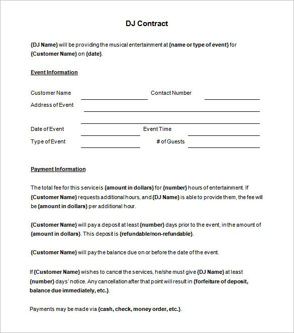 6 Dj Contract Templates Free Word Pdf Documents
